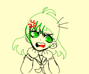 An angry anime school girl with green hair