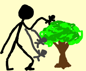 Giant takes man down from tree
