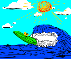 yellow chick surfing