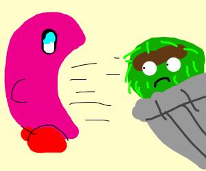 Kirby sucks Oscar the grouch