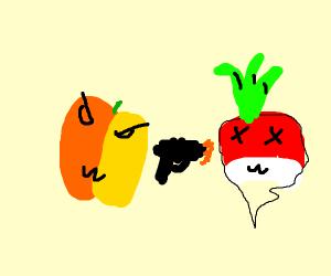 evil Peach murders radish