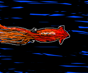 squid in dark water