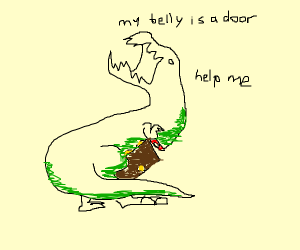Dinosaur with a door belly