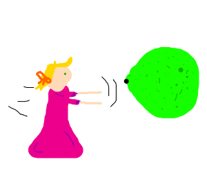 Pink dress girl wants to eat giant lime