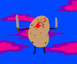 bloody potato with knife limbs t-poses