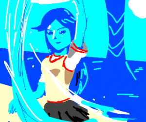 blue anime girl has wAtER powers
