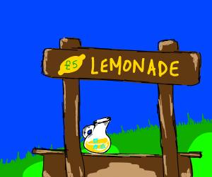 Lemonade stand, 5 (euros or pounds) a glass