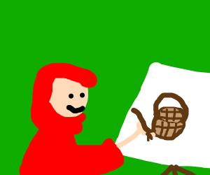 little red ridding hood paints a basket