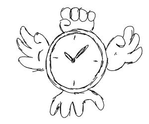 Clock with literal hands