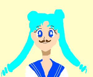 Sailor moon with blue hair and brown mustache