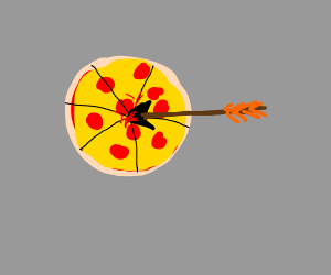 Arrow pierces pizza