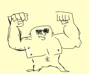 Big muscular wide short man