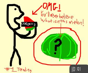 Stickfigure eating a clickbait watermelon