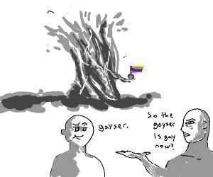 Geyser holding the gay pride flag