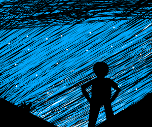 Man looks up at the night sky