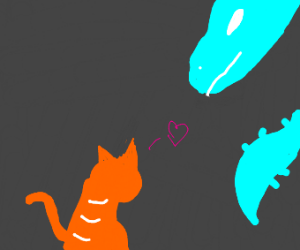 orange cat tries to be frens with blue dragon