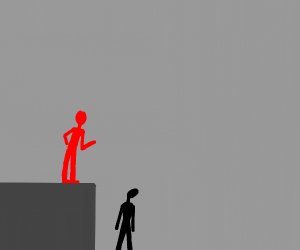 red man looks down at black man from above
