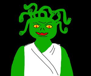 Medusa with gree skin