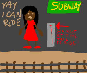 A girl who can now ride in a subway.