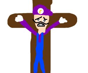 Waluigi nailed to a cross (SAVE MY BOI PLEZ!)