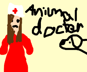 Animal doctor looking at u with animals near
