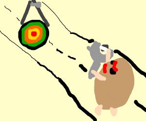 Potato with a slingshot