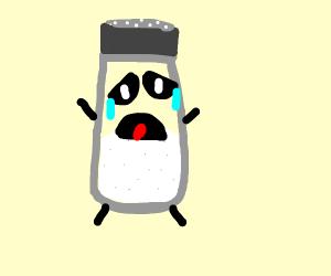 a very sad and depressed salt shaker