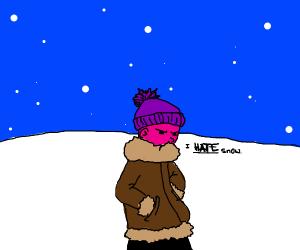 Pink man hates snow