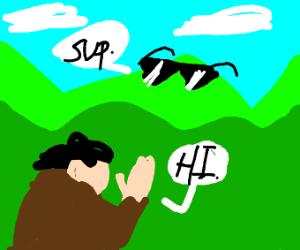 Hunchback says hi to empty field