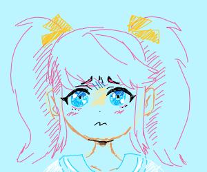 Worried pastel anime girl