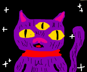Three Eyed Purple Cat with a Red Collar