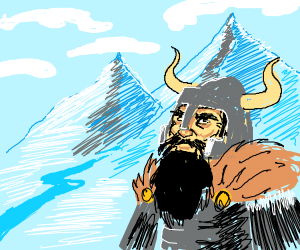 Viking braves the winter in the mountains