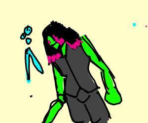 Gamora fighting Nebula