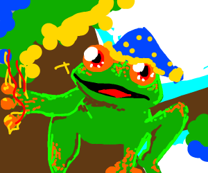wizard frog is amazed