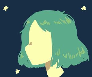 Head with green hair