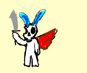 Skull bunny with cape and sword