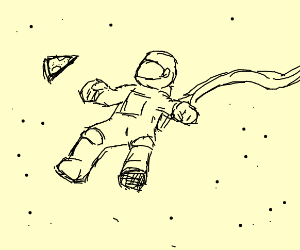 Astronaut with a slice of pizza
