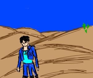 tree leged man in the desert