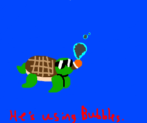 how is the turtle smoking underwater huh