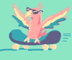 cool bird riding a skateboard
