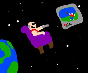 Man enjoys T.V in space
