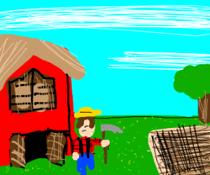 farmer with hoe/sickle next to barn