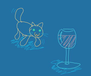 a cat approaches a wine glass