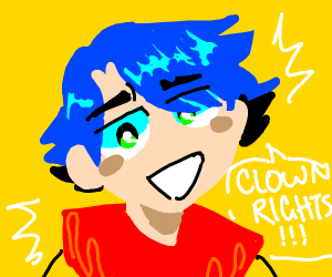 Blue hair guy wants clown rights #clownmonth