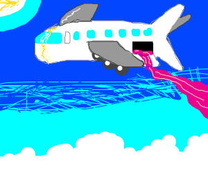 Jam spilling out of a plane
