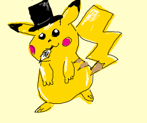 Pikachu with top hat and feathers