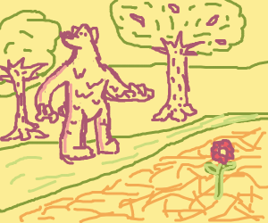 a bear walking among a forest