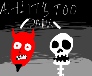 devil and skeleton are scared in the dark