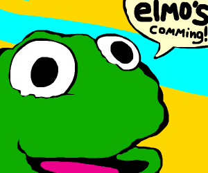"a muppet yelling ""elmo's comming"""