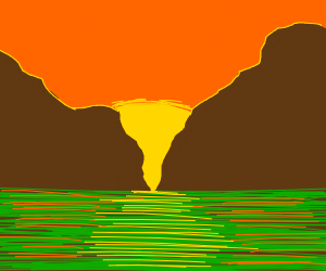 sunset behind some mountains